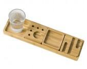 Bamboo Wood Desk Multipurpose Organizer With Tray