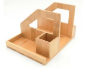 Bamboo Wood Desk Organizer Desktop Bookshelf Pen Holder Accessories Storage Caddy