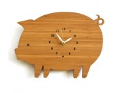 Bamboo Wood Pig Wall Clock