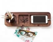 Black Walnut Wooden Multi-Function Desktop Organizer