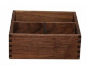 Black Walnut Wooden 3 Compartment Desk Organizer Pen Pencil Holder/Remote Control Holder Organizer