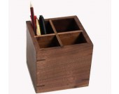 Black walnut Wooden 4 Compartments Desktop Storage Organizer Pen Pencil Holder