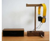 Black Walnut Wooden  Headphone Hanger Pen Pencil Holder Cord Cable Clip Holder Management System