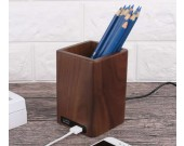 Black Walnut Wooden Pen Holder with 2 USB Charging Port