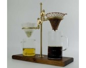 Simple Black Walnut Base Brass Pour Over Drip Coffee Maker Dripper Stand