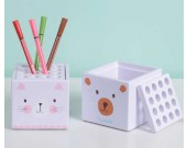 Cartoon Bear & Kitten Face  Pen Display Stand 16-Slots Pen Pencil Holder