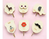 Cartoon Wood  Decorative Adhensive Hook, Set of 6