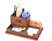 Wooden Desk Accessory Storage Organizer / Pen Holder /  Memo Pad Holder/Business Card Holder