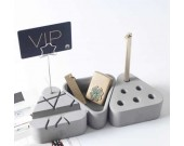 3pcs Concrete Office Desk Organizer Set - Phone Stand / Pencil Holder / Business Card Holder