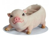 Cute Pig Office Desktop Stationery Cell Phone Remote Control Storage Box Organizer