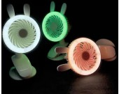 Cute Rabbit Bear Clip On  Mini- Fans With LED Night-Light