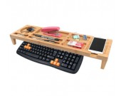 Eco Friendly Bamboo Wood Desktop Organizer Over the Keyboard