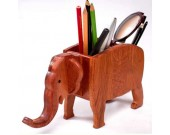 Elephant Shape Wooden Pen Cup/Pen Holder Desk Organizer