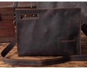 Retro Genuine Leather Business Portfolio Briefcase A4 Paper File Document Organizer