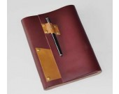 Genuine Leather  Loose-leaf A5 Notebook With Pen Slot