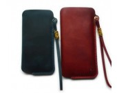 Genuine Leather  Phone Pouch with Strap for iPhone  8 8 Plus 7 7 Plus