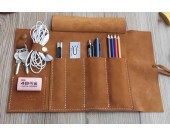 Genuine Leather Roll Up Style Pen Pencil Case,Black & Brown