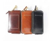 Genuine Leather Zipper Clutch Wallet  Credit Card Phone Holder Hand Purse