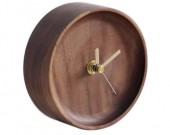 Handmade Black Walnut Round Table Alarm Clock
