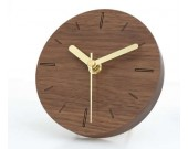 5 inches Handmade Black Walnut Wood Round  Silent Desk  Clock