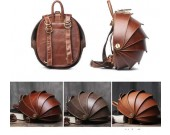 Handmade Genuine Leather Beetle Backpack Purse Travel Bag for Women and Men