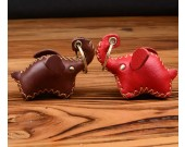 Handmade Genuine Leather Elephant Style Keychain Key Ring, 2 Piece Set