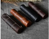 Handmade Genuine Leather Stationery Pencil Pen Case Art Pouch
