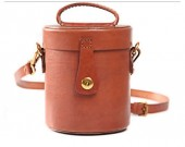 Handmade Leather Cylinder Shaped Coin Purse Shoulder Bag