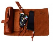 Handmade Leather Wallet Roll Up Case Pencil Pen Case Hoder Phone Bag