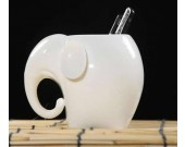 Handmade Porcelain Elephant Pen Pencil Holder Elephant Figure Office Home Decor