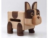 Handmade Wooden Dog Tissue Box