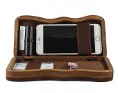Handmade Wooden Portable-Handle Bag Business Name Card Holder Wallet Credit card ID Case / Holder