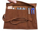 Vintage Style Leather Pencil Pen Case