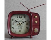 Iron Art Retro TV Shaped  Desk Clock