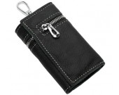 Leather Pocket Tri-fold Key Wallet/Holder with 6 Hooks