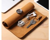 Leather Roll Up Style Cable Travel Organizer  For Cable Earphone Charger