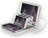 Multi-Device Charging Stand Docks with 4-Port USB Charger for Universal Smart Phones and Tablets