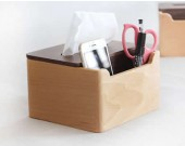 Multi-Function Wooden Tissue Cover Desk Organizer for Pen Pencil Remote Control Phone iPad