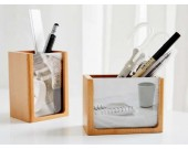Natural Wood  Pen Holder with Photo Frame