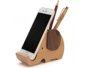 Wooden Elephant Pencil Holder Desk Organizer Phone Stand Holder