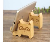4pcs Natural Wooden Mobile Phone Holder Universal Dock With Dog Face for Android Smartphone, Iphone Mobile Phone,Accessories Desk