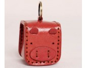 Leather  Pig Face Coin Purse with Keychain