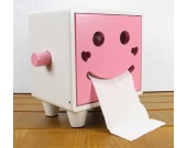 Wooden Smiley Face Tissue Box,Pink