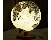Rotating LED World Globe Map Table Lamp with Wood Base, 25cm Diameter