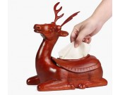 Simple Fashion Red Wooden Pig/Elephant/Deer Desktop Household Tissue Box