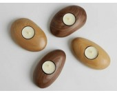 Tea Light Wooden Pebble Candle Holder(single)