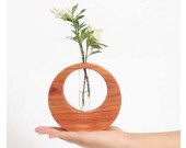 Test Tube Planter Bud Flower Vase with Wood Base Stand