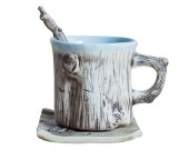 Tree Bark Ceramic Coffee Mug With Saucer