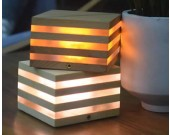 Wooden USB Mini Cube Table Lamp