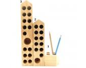 Wood Block  Pencil and Pen Holder